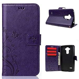Para LG G Stylo LS770, Leathlux Retro Pu Cuero Estilo Billetera Funda Carcasa Protector Cover Case con Ranura Titular Tarjeta Cierre Magnético Folio Stand para LG G Stylo LS770 / LG G4 Stylus Púrpura