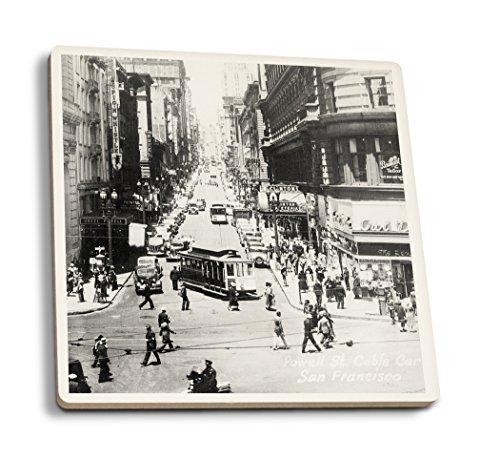 Lantern Press San Francisco, California - Powell Street Cable Cars - Vintage Photograph (Set of 4 Ceramic Coasters - Cork-Backed, Absorbent)