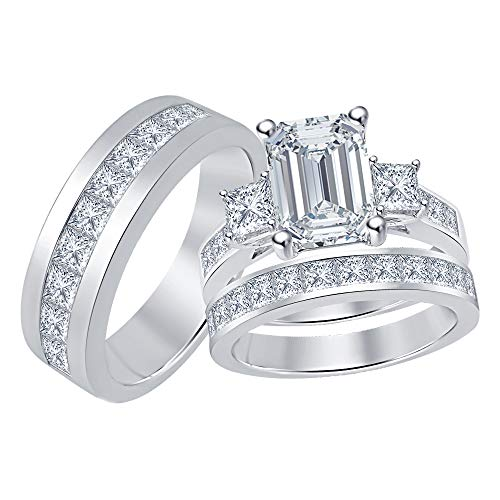 Three Stone Emerald & Princess Cut Swarovski Cubic Zirconia 14K White Gold Over Anniversary/Engagement Trio Bridal Ring Set for Men's & Women's in 925 Sterling - Cz Engagement 3 Ring Stone