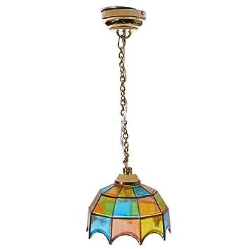 TOOGOO(R) 1:12 Casa de techo de metal en miniatura con forma de paraguas multicolor modelo pantalla de lampara