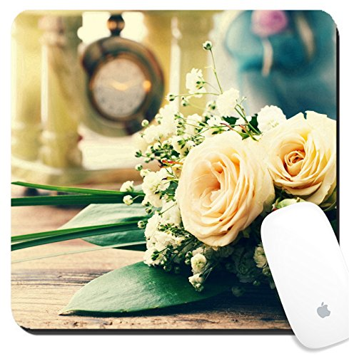 Luxlady Suqare Mousepad 8x8 Inch Mouse Pads/Mat design IMAGE ID 27502724 Summer wedding day unusual designer florist bouquet of delicate roses Free space for text (Rose Vintage Florist)