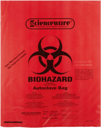 Bel-Art F13165-1419 Polypropylene 2-4 Gallon Super Strength Red Biohazard Disposal Bags with Warning Label/Sterilization Indicator, 14W x 19 in. H, 2.0mil Thick (Pack of 200) by SP Scienceware