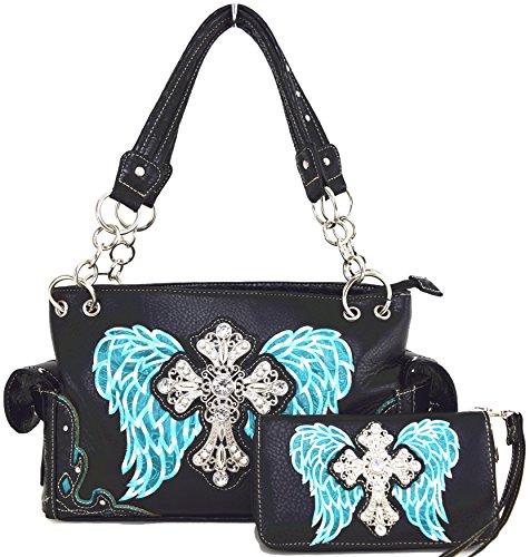 Blancho Ropa de cama Mujer [patrón clásico] Bolsa de cuero de PU Bolsa Handbad bolso elegante Combo-Turquesa