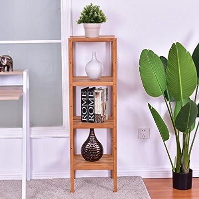 "Giantex 4-Tier Bamboo Storage Shelf 13""X13""X44"" Multifunctional Storage Rack Bathroom Shelving Unit Towel Rack Standing Organizer"