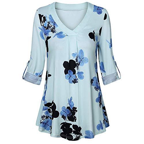 Imprim Blouse Ample Autumne Col Bouton Shirt V Bleu Floral Femme Longues Tops Tunique Manches Casual Innerternet Blouse Yd4wq7UxYO