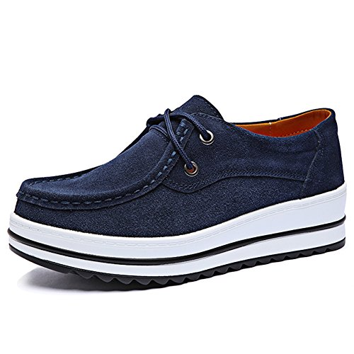 HKR-XJ526shenlan40 Women Lace Up Platform Wedge Oxfords Shoes Comfort Round Toe Suede Moccasins Shoes Navy Blue 8 B(M) US