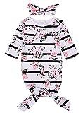 C&M Wodro Newborn Baby Sleepy Floral Striped Gown Headband Sleepwear Romper Sleeping Bags (White 1, 0-6 Months)