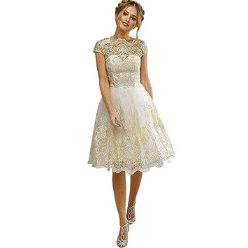 c06e5de7f LMMVP Vestido de Mujer Señoras Sexy Cordón Bordado Paseo Formal Dama de  Honor Boda Princesa Elegante Vestido de Vestidos de Bola Vestido de Noche  Mini ...