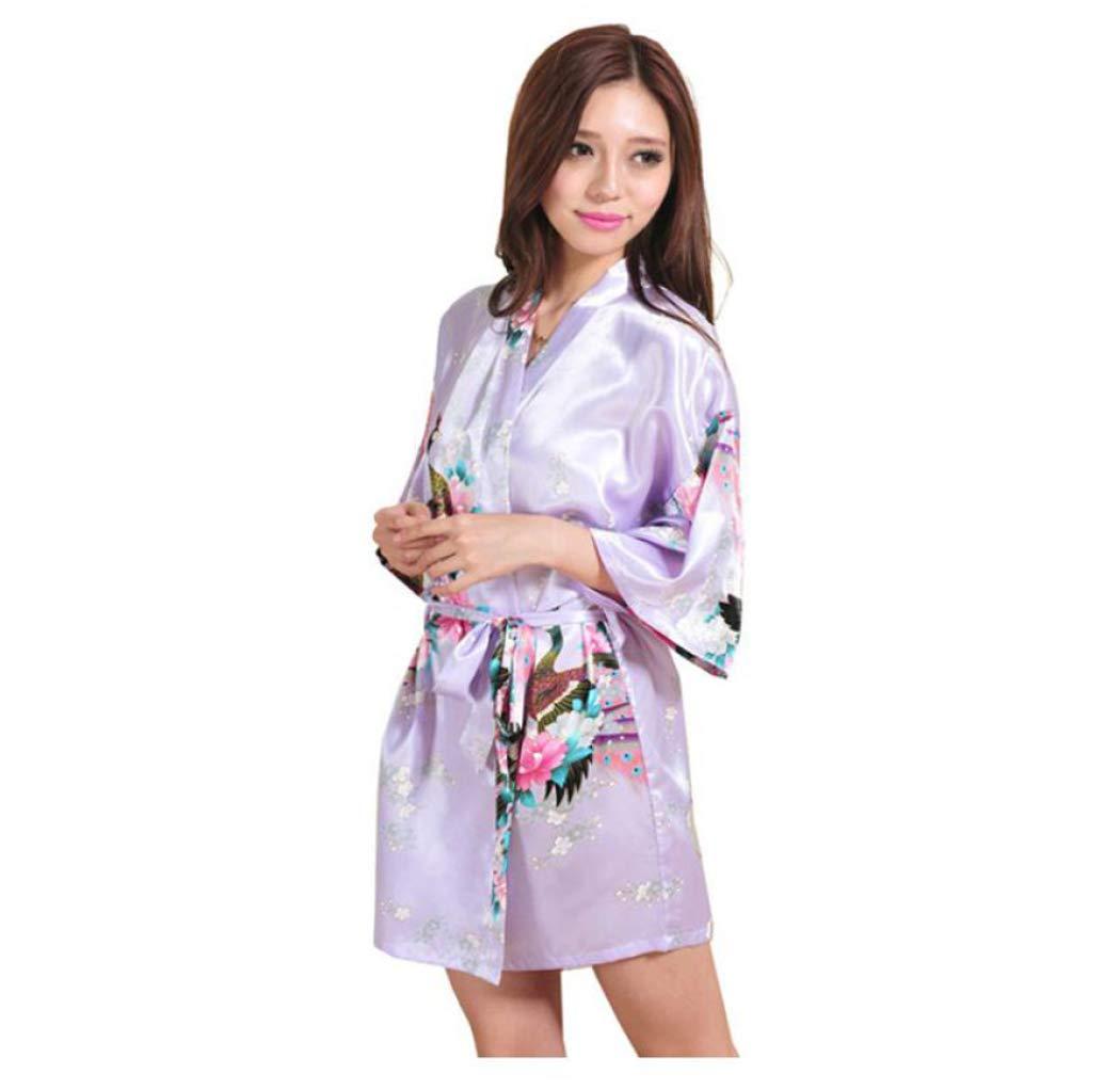 DPPAN Satén Mujer Pijama, Sexy Albornoz Kimono Bata Cuello ...