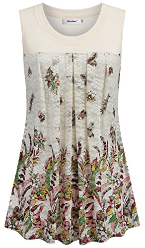 Sixother Women Tank for Summer, Floral Flare Top for Female Scoop Neck Tunic Tops Soft Comfy Tee for Womans Elegant Vintage Lace Shirts Aline Flowy Woman's Blouse Beige (Elongated Tank)
