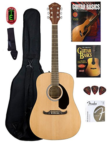Fender Beginner Acoustic Guitar with Instructional DVD and Book, Gig Bag, Tuner, Strap, Picks, Strings – Natural