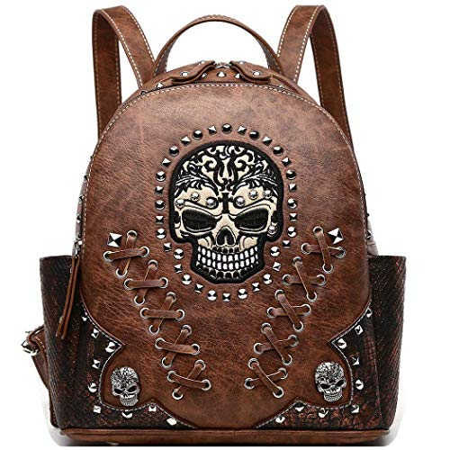 Sugar Skull Punk Art Rivet Studded Biker Purse Women Fashion Backpack Bookbag Python Daypack Shoulder Bag (Brown)