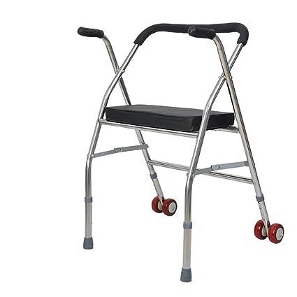SCZLSYL Caminante de silla de ruedas de acero inoxidable andador plegable anciano asiento de rueda de