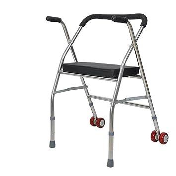 SCZLSYL Caminante de silla de ruedas de acero inoxidable andador plegable anciano asiento de rueda de mano con discapacidad para caminar antideslizantes ...