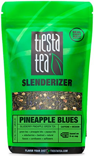 Blueberry Pineapple Green Tea | PINEAPPLE BLUES 2 Ounce Pouch by TIESTA TEA | Medium Caffeine | Loose Leaf Green Tea Slenderizer Blend