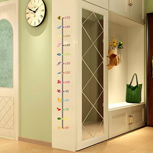 (Coohole Undersea Fishes Height Scale Measure Growth Chart Wall Stickers For Kids Baby Nursery Bedroom Home Decor Decal Art (A))