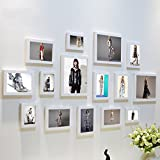Home@Wall photo frame Photo Frame Sets,Living Room Photo Frame Wall Creative Combination Sofa Background Frames Sets Of 15 ( Color : H , Size : 15frames/13575CM )