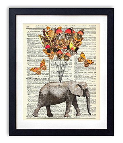 1 Art Print - Elephant With Butterflies (#1) Upcycled Vintage Dictionary Art Print 8x10