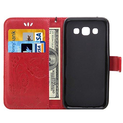 Fashion & personality Para Samsung Galaxy J2 Crazy Horse Textura de impresión Horizontal Flip caja de cuero con el titular y ranuras para tarjetas y Cartera y Lanyard ( Color : Dark Blue ) Red
