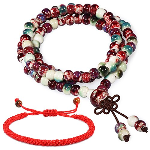 CAT EYE JEWELS 108 Prayer Beads Bracelet Porcelain Buddhist Vintage Style Mala Beads Bracelet Necklace Mix Color
