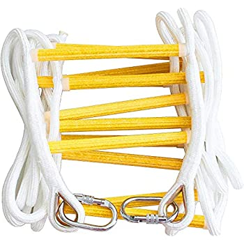 Fire Escape Ladder 2 Story 16ft Flame Resistant Safety Rope Ladder with Carabiners -Fast to Deploy & Easy to Use & Store - Compact - Weight Capacity up to 2000pounds (16ft) Emergency ladders