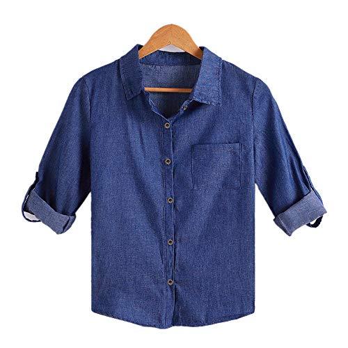 iOPQO Shirts for Women, Fashion Solid Denim Cufflinks Long Sleeve Shirt Blouse by iOPQO