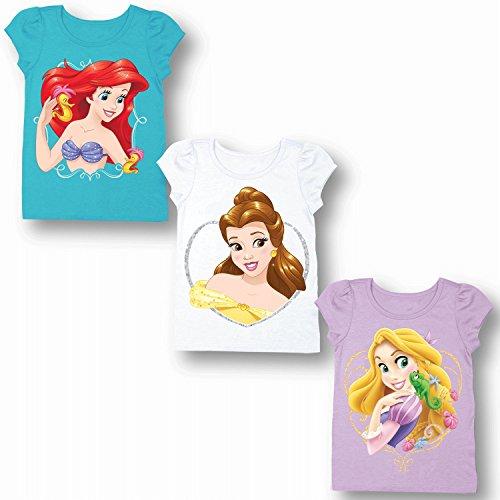 Disney Girls' Toddler Princesses Ariel, Belle, Rapunzel 3-Pack Big Face T-Shirt, Aqua Turquoise/White/Lilac - For Clothes Kids Disney
