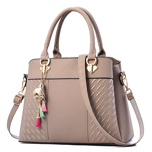 Charmore Womens Handbags Ladies Purses Satchel Shoulder Bags Tote Bag (Light Khaki)