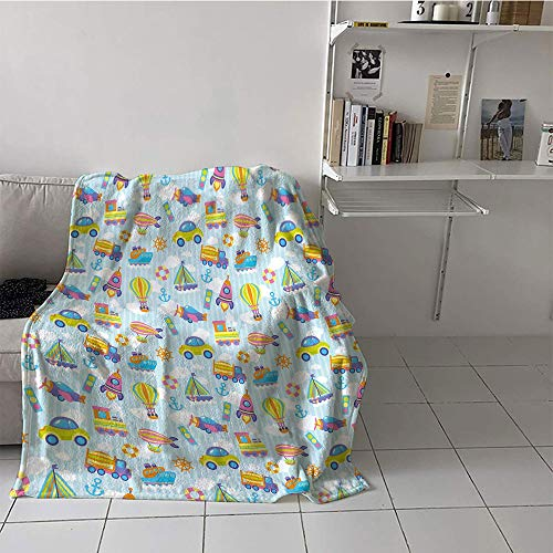 Transportation Stroller Blanket - alilihome Children's Blanket Stroller All Season Blanket (70 by 90 Inch,Kids,Transportation Themed Toy Vehicles and Icons Pattern on Stripes and Fluffy Clouds,Multicolor