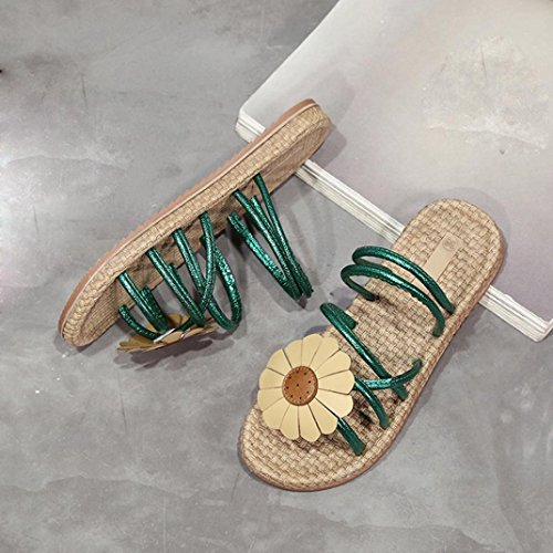 Transer Ladies Beach Flower Flat Shoes- Women Summer Sandals Comfy Slippers Casual Green uCP7abco