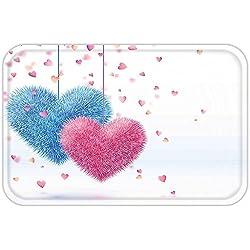 VROSELV Custom Door MatValentineDay Decor Fluffy Romantic Toy Like Hanging Love Theme HeartDesign Artwork Pink And Blue