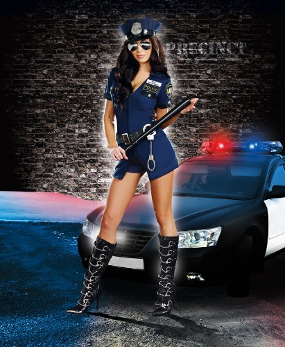 Dreamgirl Women's Officer B Naughty Costume, Blue, Large (Girls Blue Police Officer Costume)