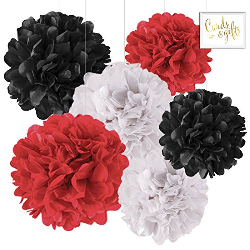 Andaz Press Hanging Tissue Paper Pom Poms Party Decor Trio Kit with Free Party Sign, Red, White, Black, 6-Pack, For Ladybug Baby Shower Birthday (Ladybug Lantern)
