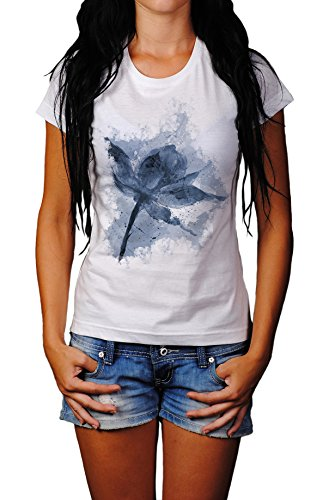 Blume III Lady T- Shirt , Stylisch aus Paul Sinus Aquarell Cyan Style