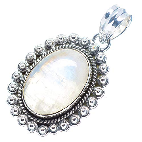 """Rainbow Moonstone Pendant 1 1/2"""" (925 Sterling Silver) - Handmade Boho Vintage Jewelry PD671690 from Ana Silver"""