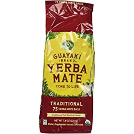Guayaki Traditional Yerba Mate, 75 Tea Bags 7.9oz (Pack of 2) 8 Item Package Length: 7.112cm Item Package Width: 9.652cm Item Package Height: 31.496cm