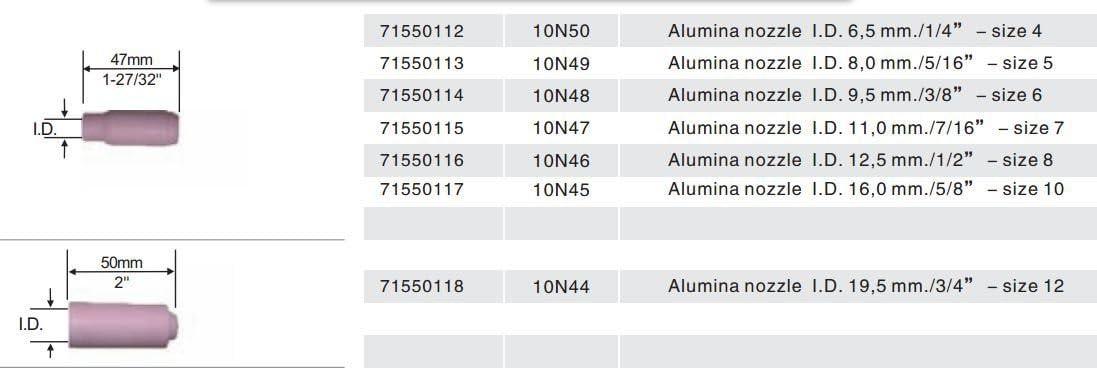 CHNsalescom 10 pcs #8 10N46 Alumina Nozzle Cups for WP-17 WP-18 WP-26 12.5mm 1//2
