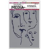 "Dina Wakley Media Stencils 9""X6""-Scribbled Faces"