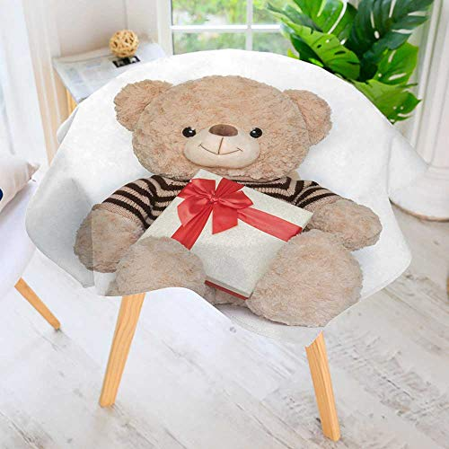 PRUNUS Round Premium Tablecloth for Wedding/Banquet/Restaurant-Bear Doll and Gift Box on White Background Polyester Fabric Table Cloth 59