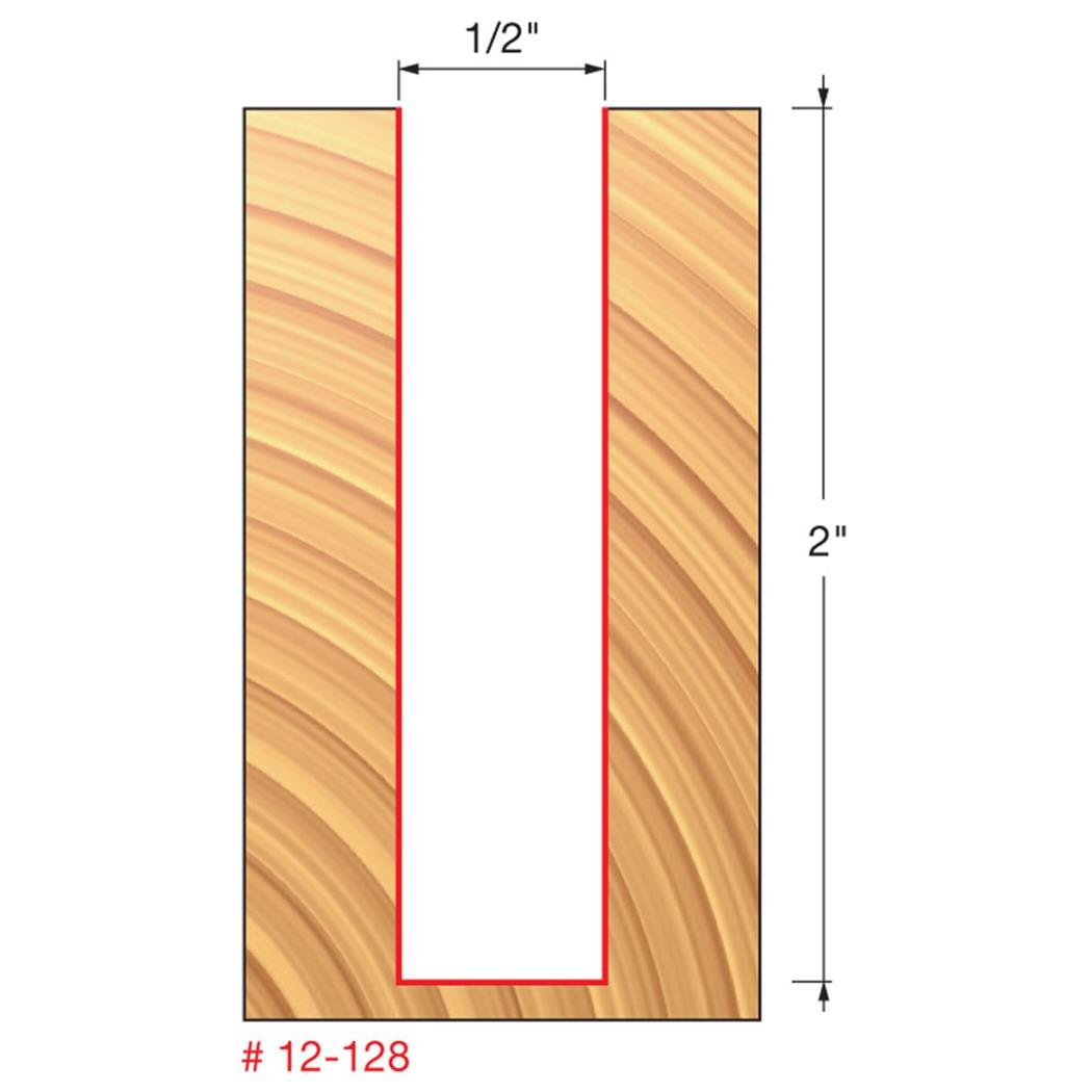Dia. Double Flute Straight Bit with 1//2 Shank 12-135 Freud 1-9//32