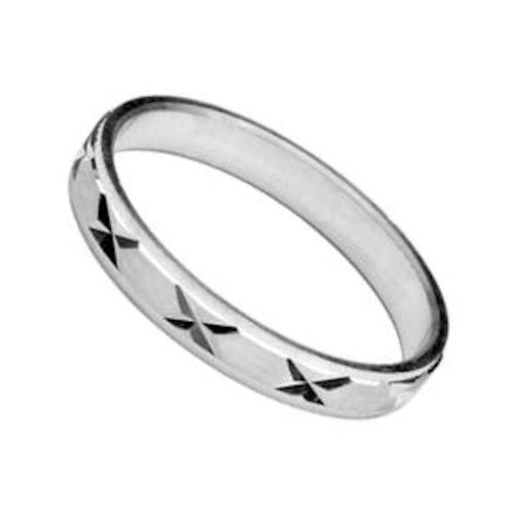 Customisable 925 Sterling Silver 3 mm Brushed Effect X Pattern Wedding Band Ring So Chic Jewels Your Message Engraved Free