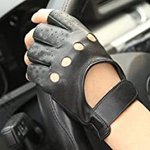 TopTie Soft PU Leather Motorcycle Gloves, Black Motorcycle Gloves - XS