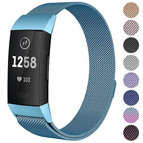 CAVN Metal Bands Compatible for Fitbit Charge 3 / Charge 3 SE Bands Women Men Small Large, Replacement Stainless Steel Accessory Watch Wrist - Band Womens Mens