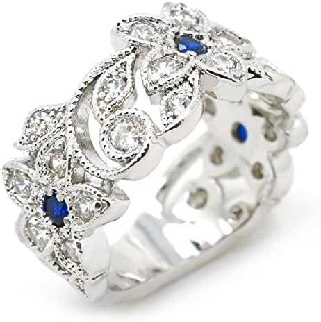Sparkly Bride Vintage Blue CZ Flower Leaves Rhodium Plated Wide Band Women Fashion Statement Ring