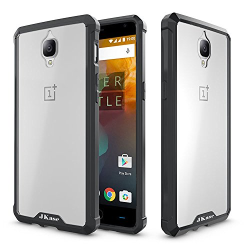 JKase OnePlus 3T/OnePlus 3 Case, Scratch Resistant Lightweight Hybrid Clear Back Panel Protective Cover Case for OnePlus 3T, OnePlus 3 (Black)