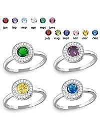 SURANO DESIGN JEWELRY Sterling Silver Halo Ring w/Clear & Birthstone Colored CZ Stones
