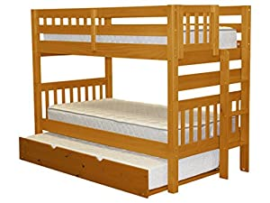 Bedz King Bunk Beds Twin Over Mission Style With End Ladder And A Trundle Honey