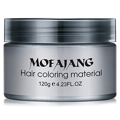 Bingirl Fashion Hair Styling Pomade Silver Ash Grandma Grey Hair Wax Men Temporary Disposable Hair Dye Coloring Mud (Temporary Hair Dyes)