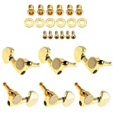 OriGlam 6pcs Gold Guitar Parts 3 Left 3 Right Tuners, 3L3R Chrome Tuning Key Peg, Guitar String Tuning Pegs Machine Head Tuners for Electric or Acoustic Guitar