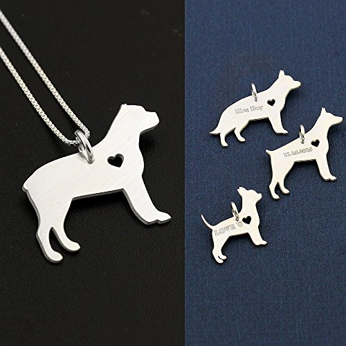 Cane Corso necklace sterling silver dog breeds pendant w/Heart - Love Pet Jewelry Italian chain Women Best Cute Gift, Memorial ()